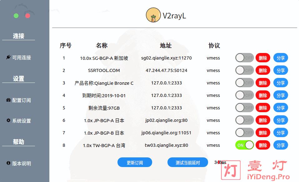 V2RayL的GUI客户端界面 订阅的服务器节点