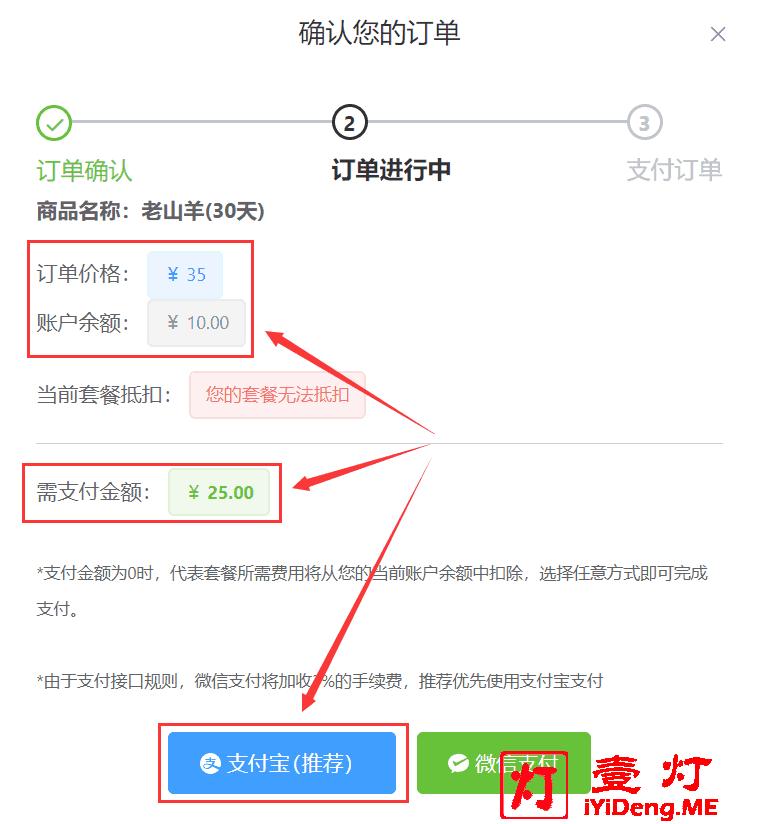 """购买MieLink羊圈""""VIP3老山羊""""套餐订单确认页面"""