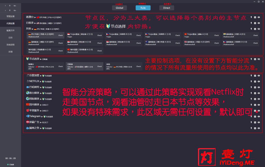 Clash for Windows MieLink专版客户端 节点选择界面