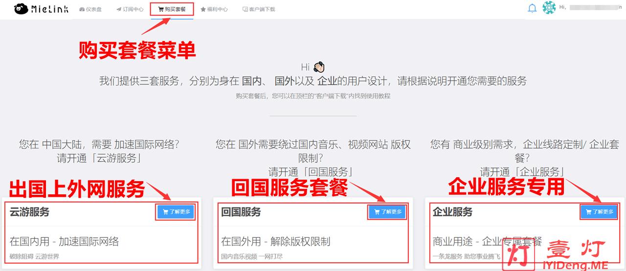 MieLink羊圈购买套餐选择服务页面