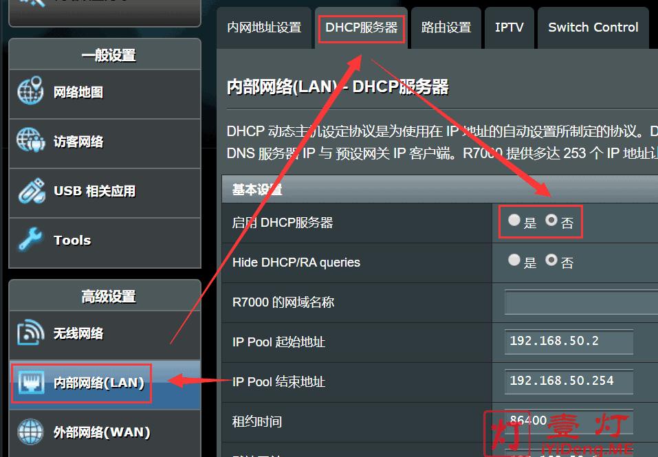 网件Netgear R7000 DHCP服务器关闭