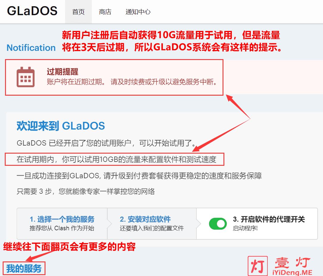 GLaDOS用户第一次登录时的后台页面
