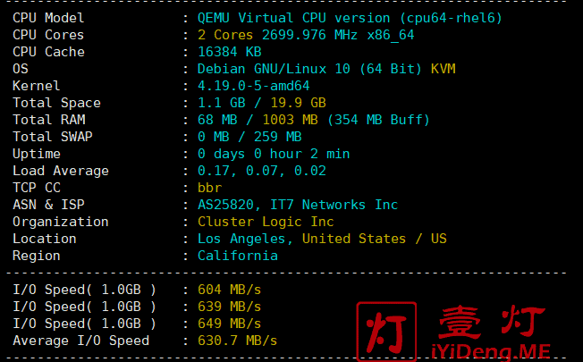 搬瓦工(BandwagonHOST)日本软银线路服务器测评基础硬件信息