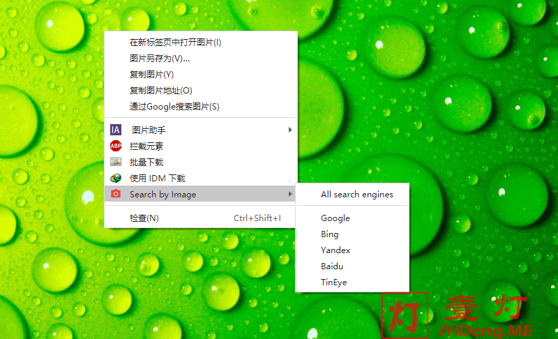 Search By Image 扩展插件选择搜索引擎